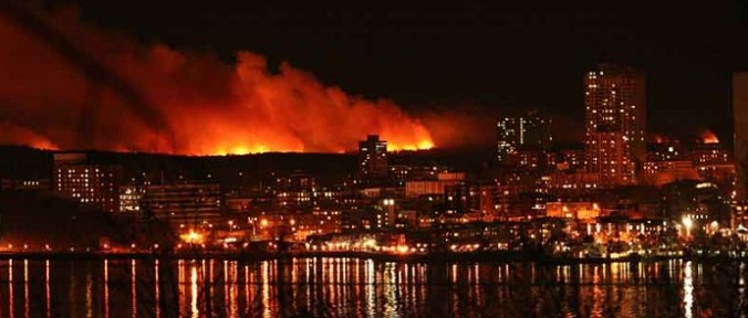 Fire in the peri-urban fringe of Halifax, Nova Scotia.