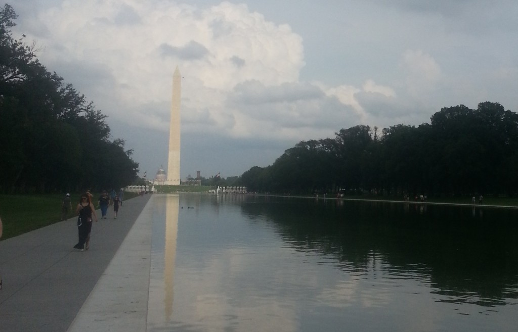 The Washington Memorial glowing from fugitive sources, as Washington anticipated thunderstorms.