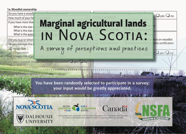 Marginal land survey postcard, the first of a series of mailings a random sample of 1000 Nova Scotia farmers are about to receive