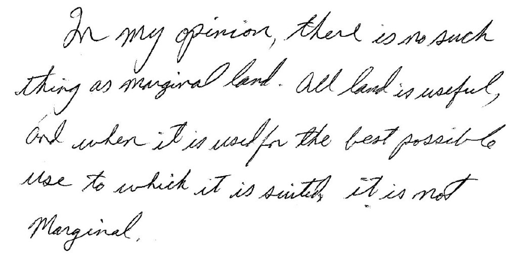 An eloquent note by a Nova Scotia farmer, accompanying his completed Marginal Land survey.