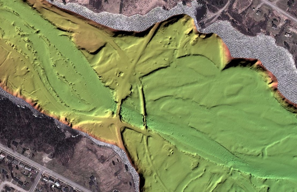 Bathymetry of the Mactaquac headpond, NB, by the Ocean Mapping Group at UNB, revealing the former townsite of Culliton, near Nackawic, including its road and rail bridges.