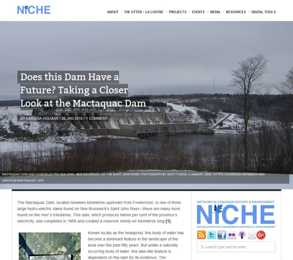 Larissa Holman's NiCHE piece on our storymap Before the Mactaquac Dam.