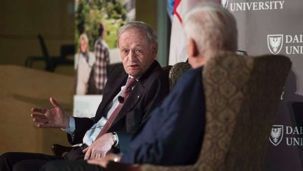 Former PM Jean Chretien interviewed by Bob Rae about Alan MacEachen at Monday's launch of the MacEachen Institute at Dalhousie.