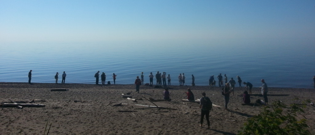 Early arrivals at the Friday ISSRM BBQ beside Lake Superior marvel at what seems like the end of the world.