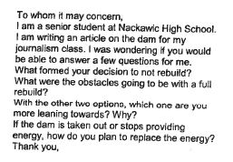 One public submission from a high school student demonstrates misinformation about Mactaquac.