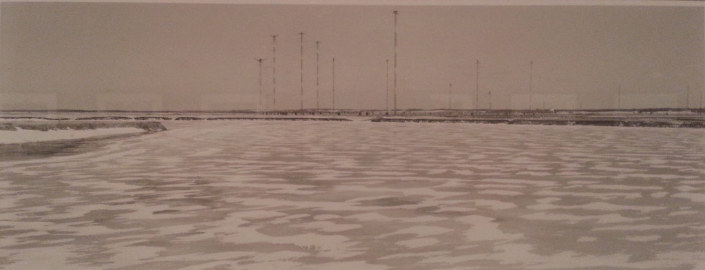 The faint sketches of the shortwave radio towers of CBC Radio Canada, captured by Thaddeus Holownia before their removal in the early 2010s.
