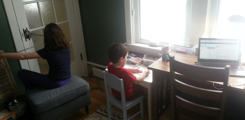 Close quarters in the home office on this first-day-of-spring snow day.