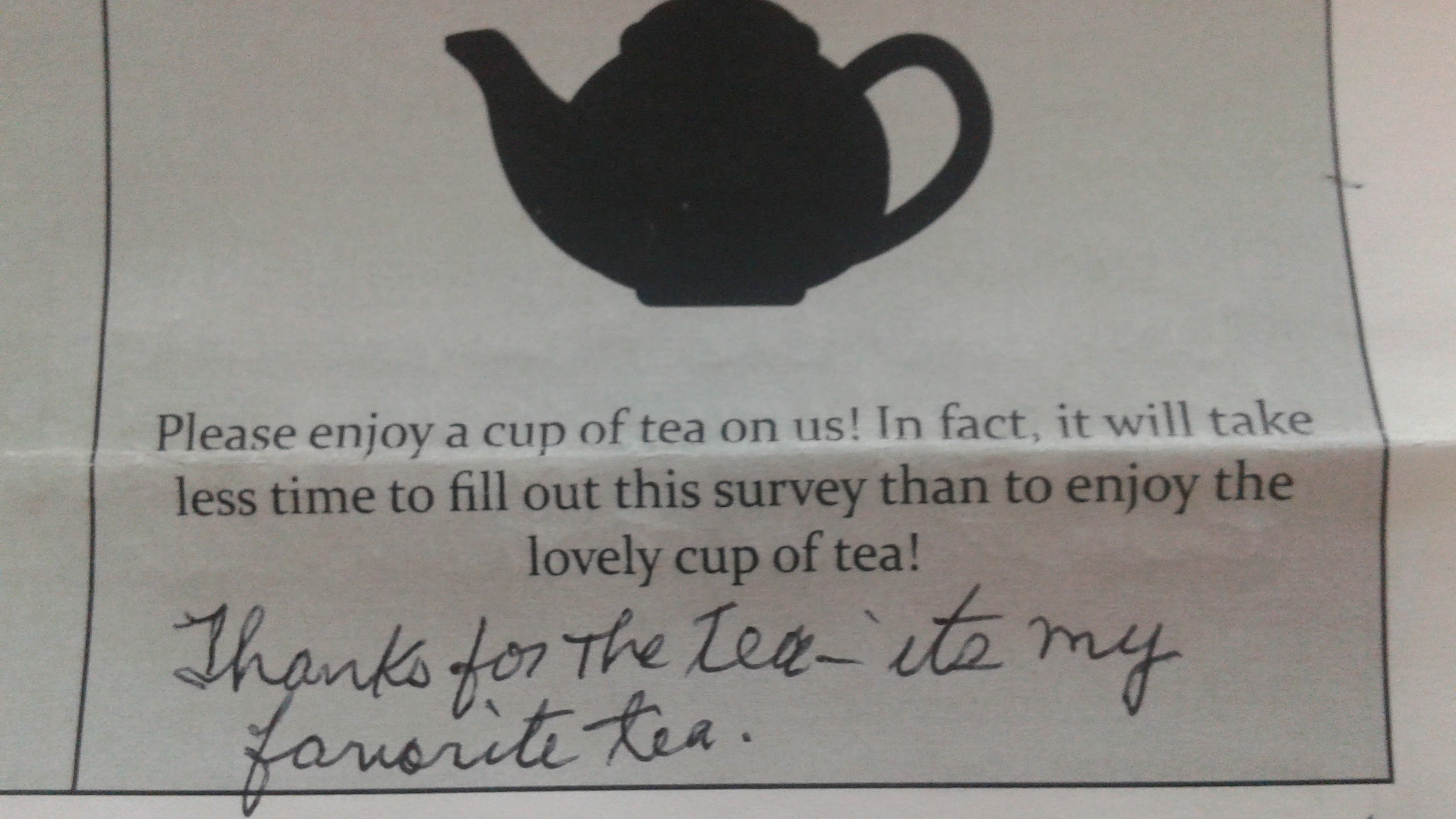 A thank you note written on a returned landholder survey.