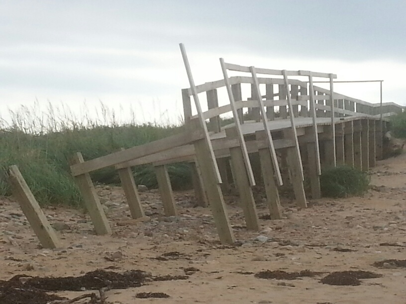 A damaged boardwalk at Port Hood, Cape Breton.
