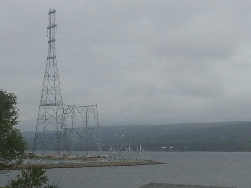 The mainland side of the Canso causeway, you can see the additional transmission capacity being constructed in preparation for the Maritime Link from Labrador's Muskrat Falls.