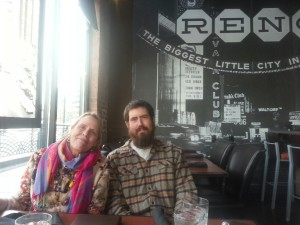 Lynn Huntsinger and Tracy Hruska at a cafe in Reno, the biggest little city in the world