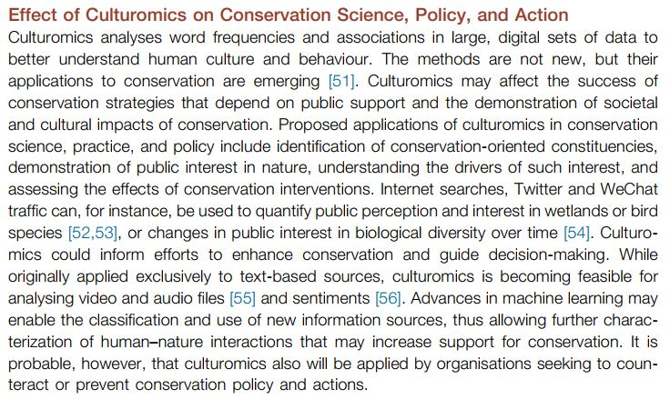 Conservation culturomics is one of this year's emerging issues.