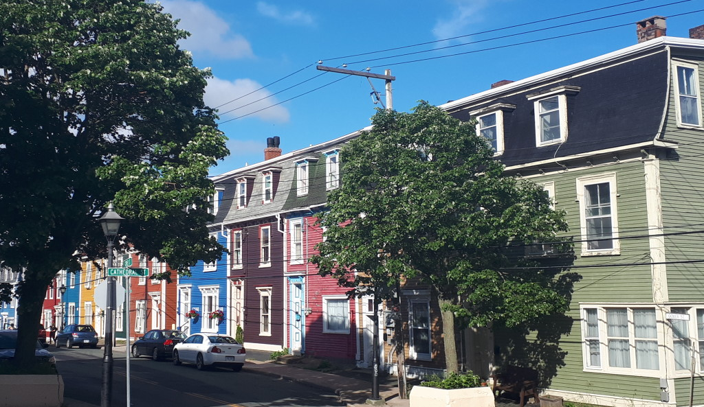 Typical St. John's streetscape with a cheering paintpot effect.