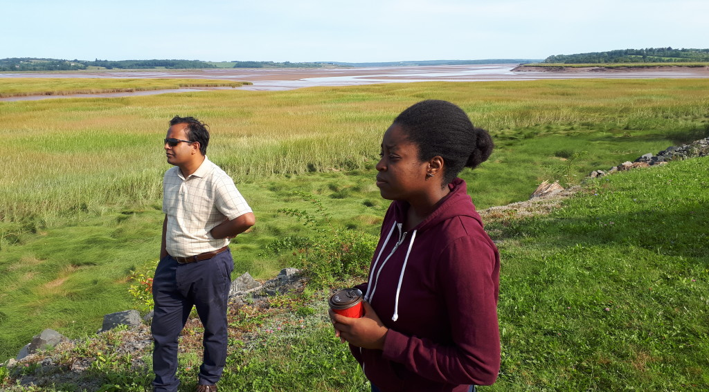 Postdoc Dr Tuihedur Rahman and new MES Krysta Sutton at the Windsor causeway.