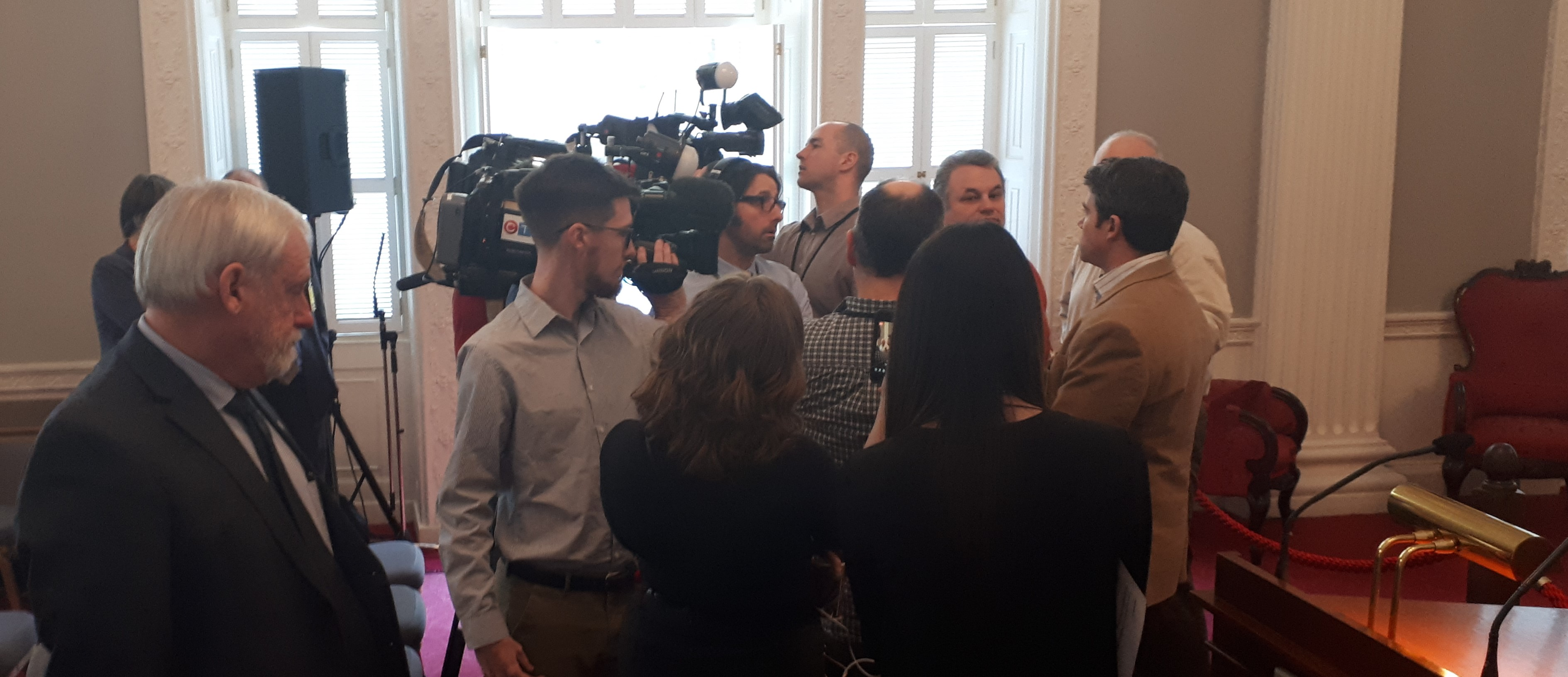 Craig Smith from NCC enters the scrum I just left, March 14, 2019.