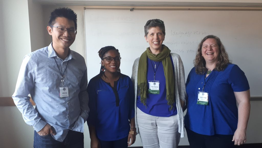 Our strangely colour-coordinated ISSRM panel on diversity in publishing, called 'Standing on the Shoulders of Sameness': John Chung-En Liu, Mysha Clarke, me and Linda Prokopy.