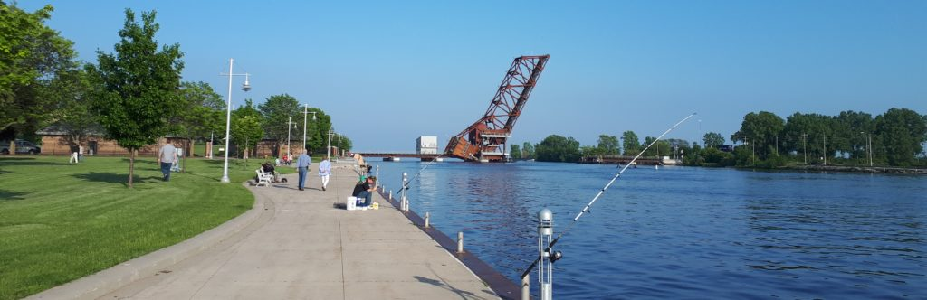The railway drawbridge over the Fox River in Oshkosh, erect.
