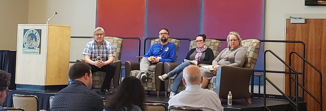 Fabulous Indigenous panel featuring Robin Kimmerer, Melonie Montano and Kyle Whyte, chaired by Chris Caldwell (photo@JennyHodbod)