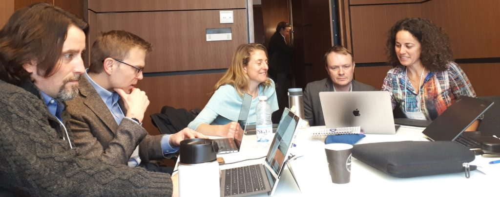 Coast-to-coast cream of the crop: Phil Loring, Brian Robinson, Anne Salomon, Evan Fraser and Elena Bennett all cramming slides for the NSERC SPG-N site visit at McGill back in Spring 2019.