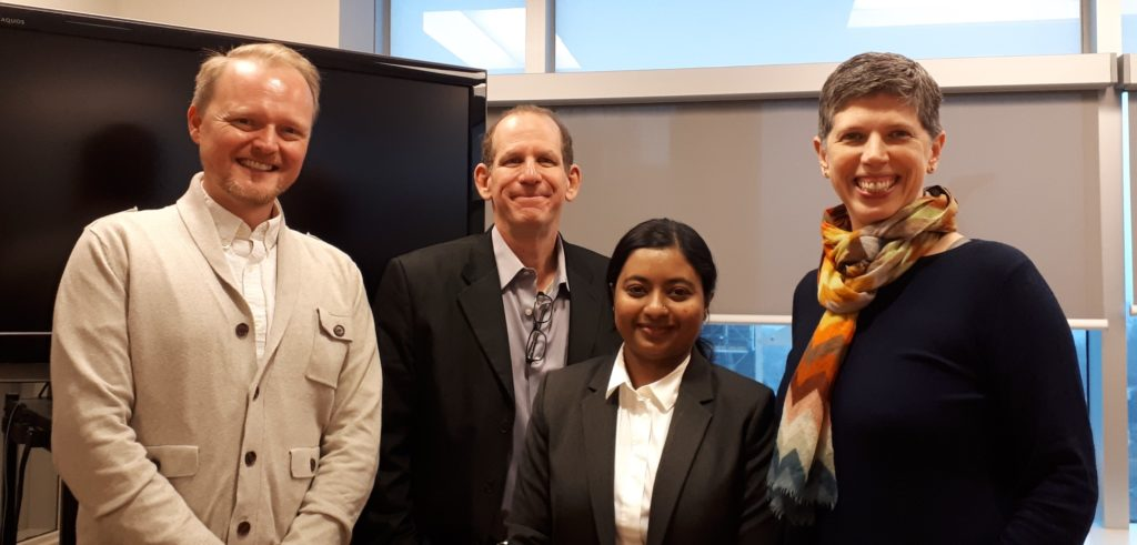Examiner Alex MacDonald, Eric Rapaport and I with now-defended MES student, Farzana Karim, Dec 3, 2019.