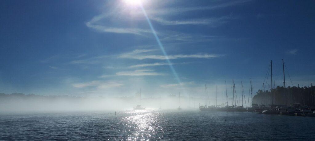 Morning walk along the arm, as fog retreats by the Armdale Yacht Club.